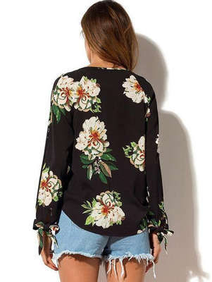 Women Low Neck Floral Chiffon Long Sleeve Top
