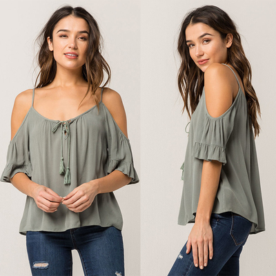 Women Cold Shoulder V Neck Rayon Blouse