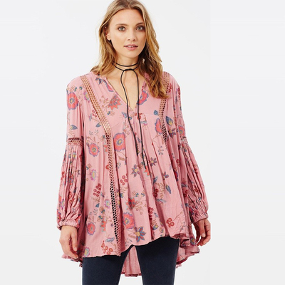 Boho Style Women Floral Printed Blouse