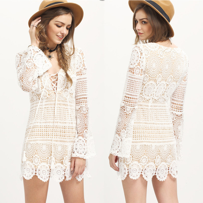 Bohemian White Dress Sexy Beach Tunic Women Casual