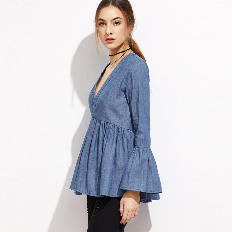 Ladies tops deep v-neckline cap sleeves denim shirt for women