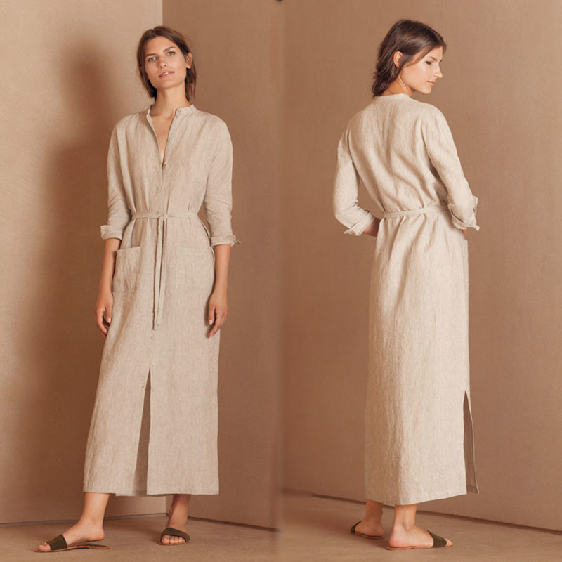 2018 Autumn New Arrivals Muslim Clothes Button Women Belt Maxi Shirt Dress